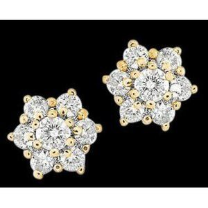 4.2 Ct. Diamond Yellow Gold Stud Earring Pair Roun